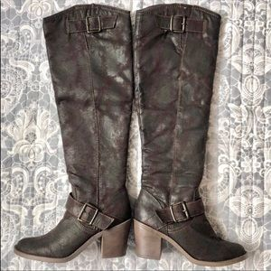 Candie's Distressed Dark Brown Faux Leather Tall Knee High Heeled Buckle Boots 6